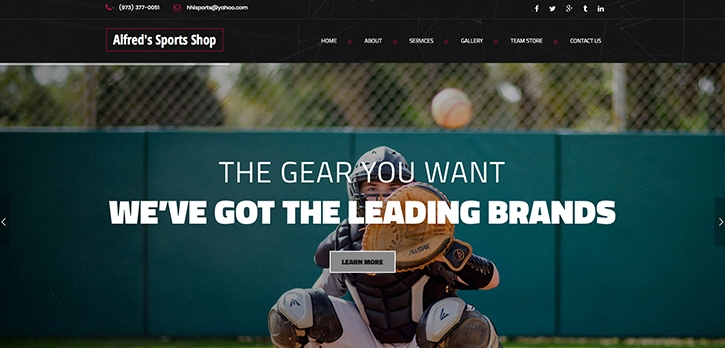 Alfred's Sports Shop Website Design